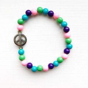 Vintage bead & silver peace sign Girls' bracelet